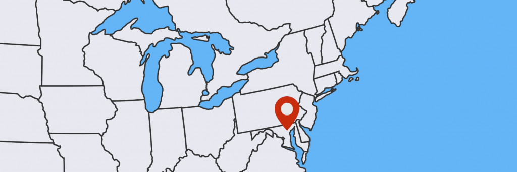 Map with location of Baltimore