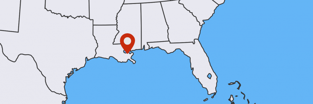 Map with location of New Orleans.
